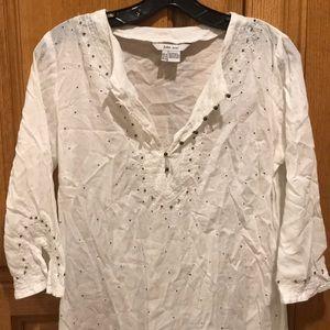 Zara sheer beaded Indian cotton shirt